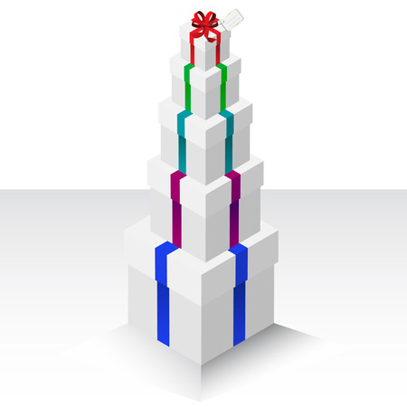 Vector - Illustration of a stack of presents or gifts wrapped with a bow Stock Vector - 4065698