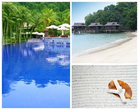 Beach vacation at a tropical island - swimming pool at a resort, sandy beaches and seashells. Stock Photo - 4128411