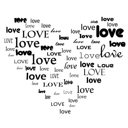 Vector - Love text in heart shape with various free fonts