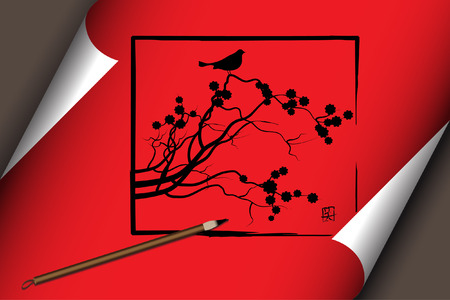 Vector - Chinese asian art work on a red scroll with nature theme Stock Vector - 4181961