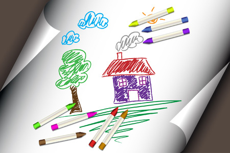 kids drawing: Vector - Child or kids drawing of a home, house. Paper with corner curl and crayons.