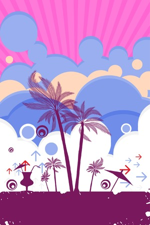 rainbow cocktail: Vector - Summer beach scene for advertisement or used in posters