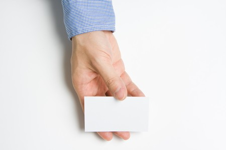 impart: Man or person presenting a business card to introduce himself