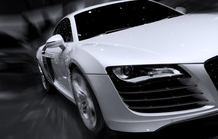 dream car: Very fast car moving with motion blur