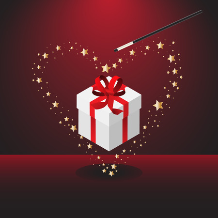 Vector - Magic wand forming bright stars for Valentines day celebration Vector
