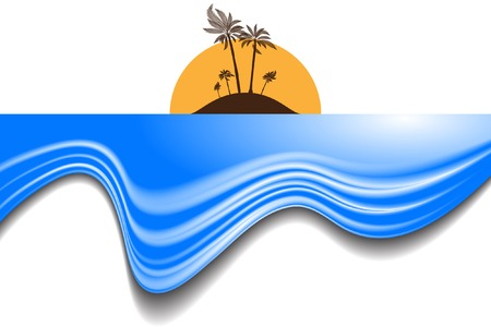 Vector - Tropical beach island with blue waves at sunset