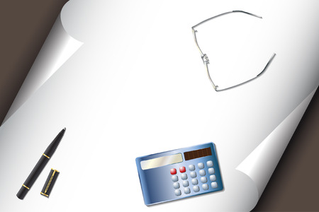 Vector - Stationery set with calculator pen glasses and corner curl paper for text insert Vector