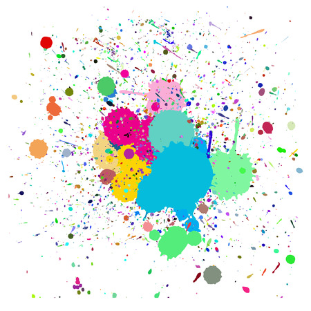 Vector - Colorful ink splash drips on a canvas, for background use Illustration