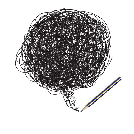 Vector - Pencil scribble random drawing, insert text in doodle area Illustration