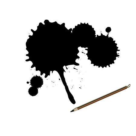 Vector - Chinese calligraphy ink brush with grunge splatter effect Vector
