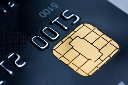Closeup of a credit card with a gold chip Stock Photo - 4861514