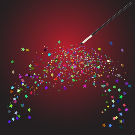 Vector - Magic wand performing tricks conjuring colorful star shapes Vector