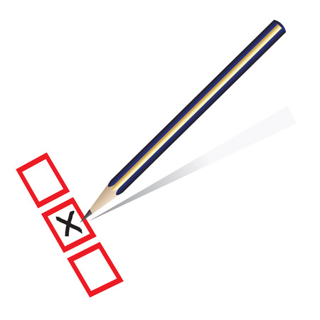 Vector - Illustration of a pencil marking x on piece of paper Vector