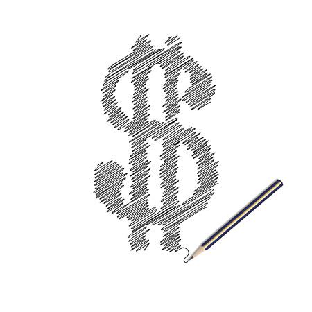 Vector - Illustration of a wooden pencil drawing a dollar money symbol Vector