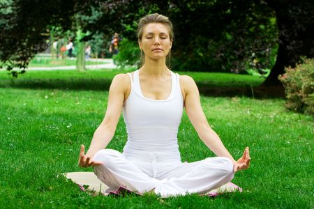 Blonde girl in nature green park exercising yoga, fitness program Stock Photo - 5235521