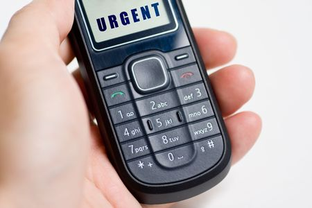 Modern mobile or cell phone for global communication services with urgent message photo