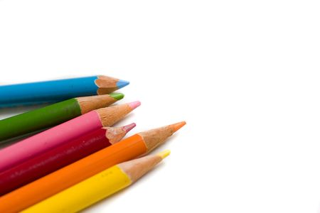 insertion: Set of color pencils with copy space for text insertion Stock Photo
