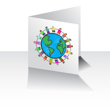 Vector - Illustration of a group of kids with different races holding hands on a greeting card Vector