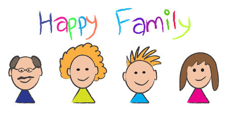 kin: Vector - Illustration of a happy family portrait sketch with mom, dad, son, daughter