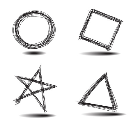 enclosures: Vettore - Illustrazione di una serie di comune disegnate a mano, cerchio, quadrato, stella, triangolo Vettoriali