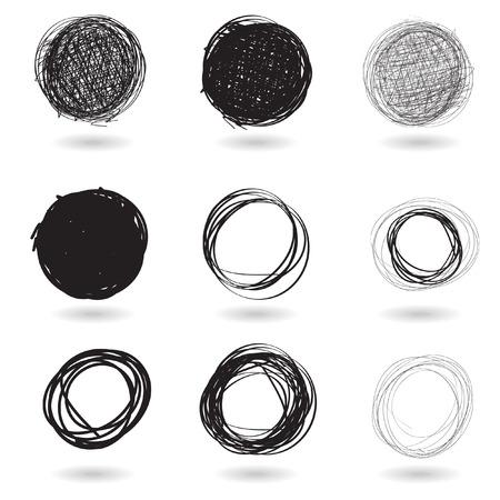 Vector - Illustration of a series of pencil drawn graffiti circles Vector