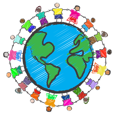 Vector - Illustration of a group of kids with different races holding hands around the globe Vector