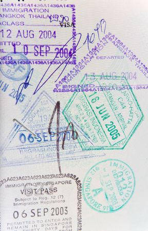 Page of generic passport stamps from thailand, indonesia, singapore