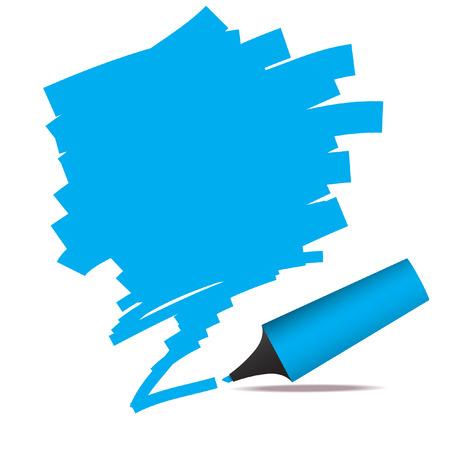 highlights: Vector - Illustration of highlighter felt pen with scribble in grunge effect