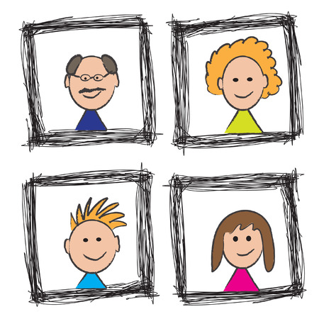 Vector - Illustration of a happy family portrait sketch with mom, dad, son, daughter Vector