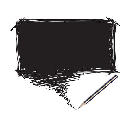 garabatos: Vector - Dibujo de un l�piz con una burbuja de palabra para la inserci�n de texto Vectores