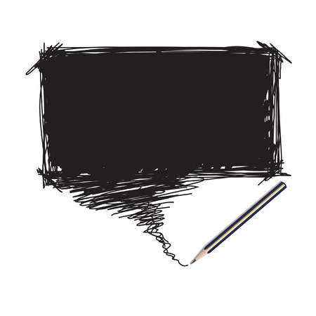 an insertion: Vector - Illustration of a pencil with a word bubble for text insertion Illustration