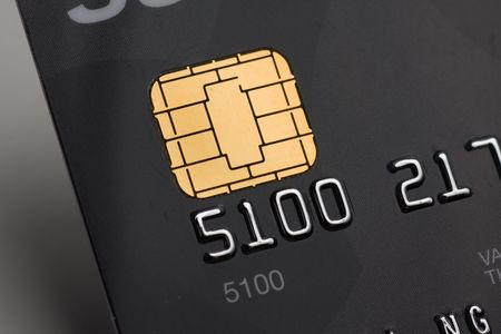 Closeup of a credit card with a gold chip Stock Photo - 5573822