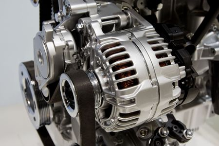 Closeup showing details of a car modern internal combustion engine