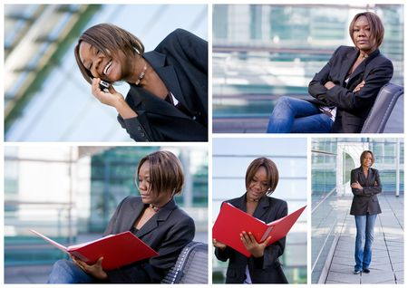 african business: Collection of a successful african american business woman in an outdoor office environment Stock Photo
