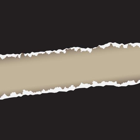 Vector - Dibujo de un documento de ruptura en el centro con los bordes ásperos