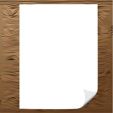 Vector - Illustration of a blank piece of paper with corner curl against wood background Stock Vector - 5669172