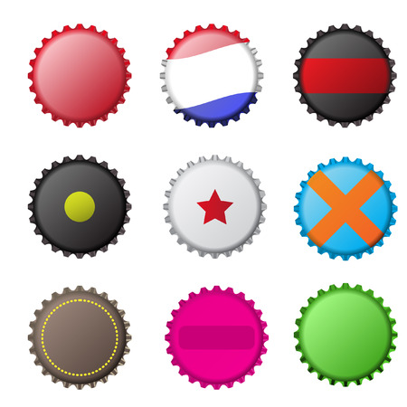 contain: Vector - Illustration of various original bottle cap designs
