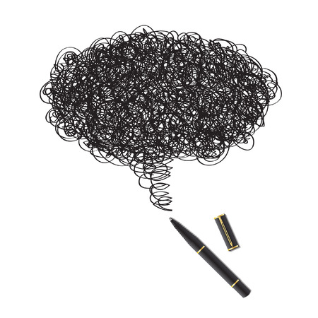 Vector - Illustration of a blot of ink drawing using a black pen forming a word bubble Vector