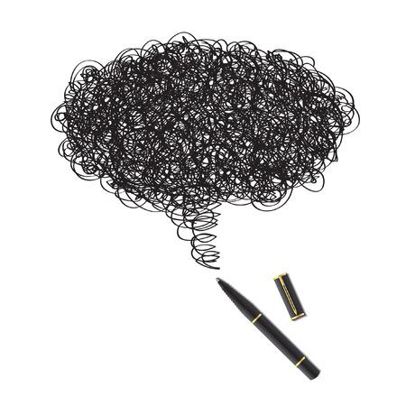 enclosures: Vettore - Illustrazione di una macchia di inchiostro di disegno con una penna nera formano una bolla di parole