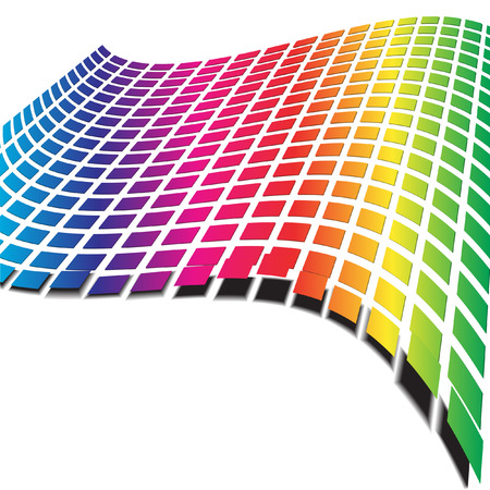 Vector - Retro pattern with rainbow colors forming a wave for background use Vector