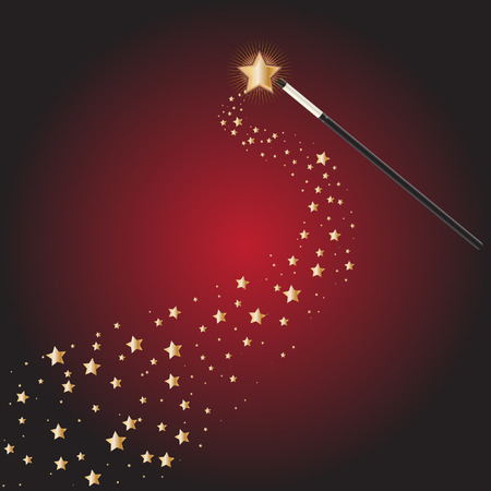 Vector - Magic wand at a magical performance with star trails Stock Vector - 6381938
