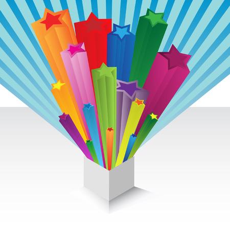 esporre: Vettore - illustrazione di un dono o regalo con arcobaleno colorato stelle esplodere da esso