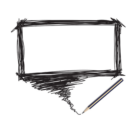 insertion: Vector - Illustration of a pencil with a word bubble for text insertion Illustration