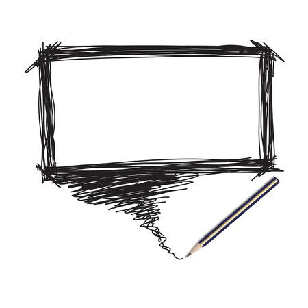 Vector - ilustración de un lápiz con una burbuja de palabra para la inserción de texto  Foto de archivo - 6381947