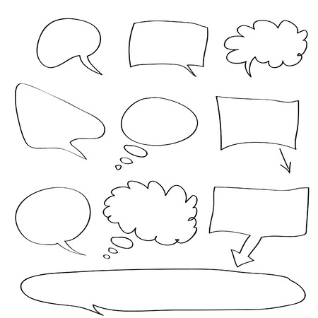Vector - Various types of white word bubbles for text insertion, all hand drawn