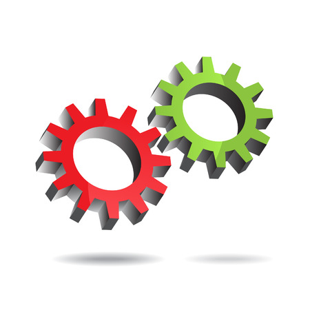 Vector - Illustration of two floating gears turning each other efficiently