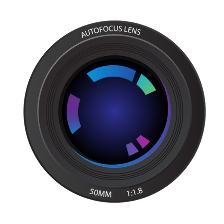 autofocus: Vector - Illustration of a 50mm camera lens from the front element showing various reflected colors