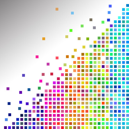 apart: Vector - Illustration of a colorful mosaic squares breaking apart
