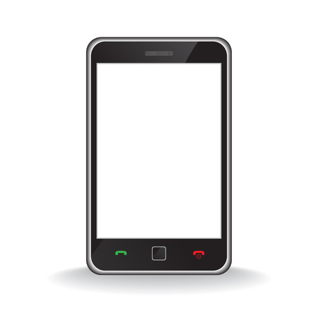 an insertion: Vector - Illustration of a modern smart phone for mobile communication with white screen for text insertion Illustration