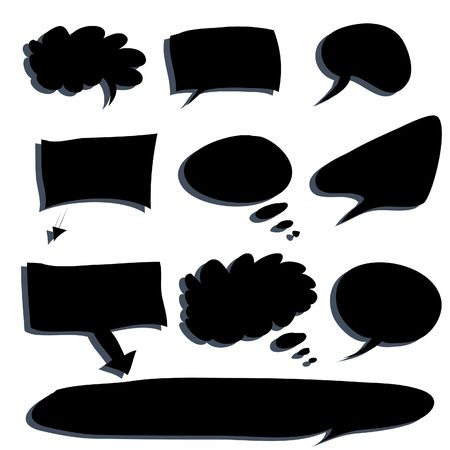 insertion: Various types of white word bubbles for text insertion, all hand drawn